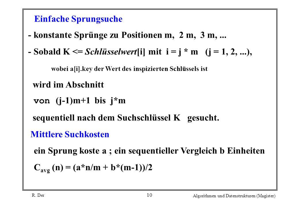 Einfache Sprungsuche - konstante Sprünge zu Positionen m, 2 m, 3 m, ... - Sobald K <= Schlüsselwert[i] mit i = j * m (j = 1, 2, ...),